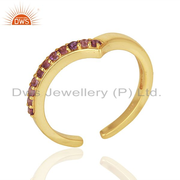 Amethsyt Birthstone Gold Plated 925 Silver Midi Rings Manufacturers