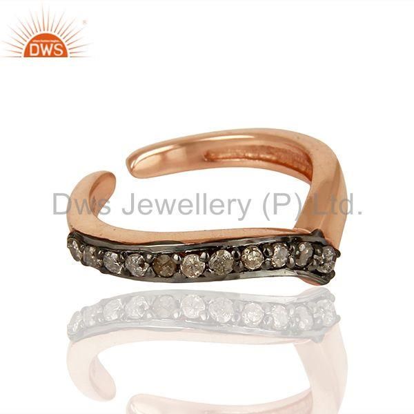 Sterling Silver Rose Gold Plated Pave Diamond Midi Rings Manufacturer