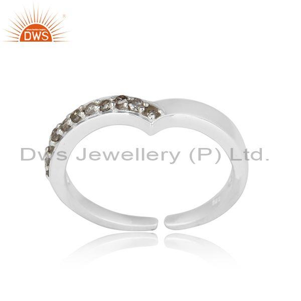 Stackable Design Sterling Silver Natural Pave Diamond Ring
