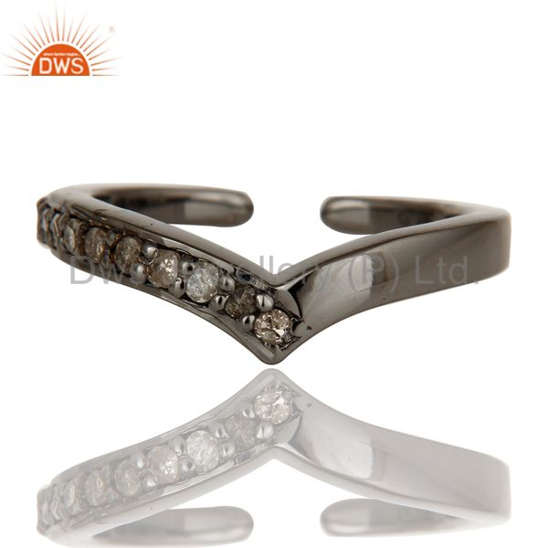 Oxidized Sterling Silver and Diamond Designer Midi Ring