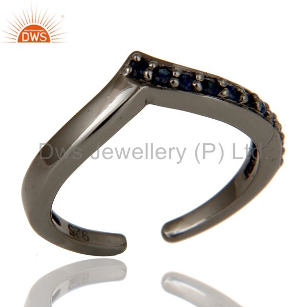 Black Oxidized 925 Sterling Silver Handmade Blue Sapphire Midi Ring Jewelry