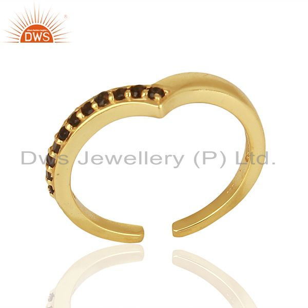 Smoky Quartz Gemstone 925 Silver Gold Plated Rings Jewelry Supplier