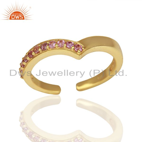 Pink Tourmaline Gemstone Gold Plated Silver Midi Ring Jewelry