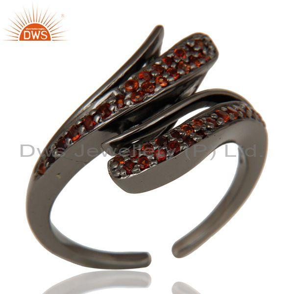 Black Oxidized 925 Sterling Silver Natural Garnet Midi Ring Gift Jewelry