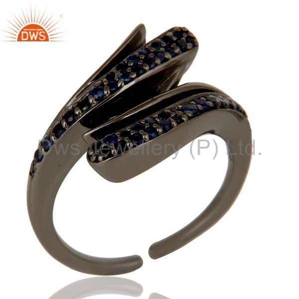 Black Oxidized Sterling Silver and Blue Sapphire Designer Midi Ring