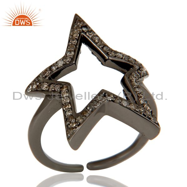 Black Oxidized Sterling Silver Diamond Rose Cut Designer Midi Ring Jewellery