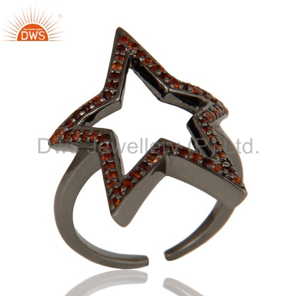 Black Oxidized 925 Sterling Silver Garnet Round Cut Designer Midi Ring Jewellery