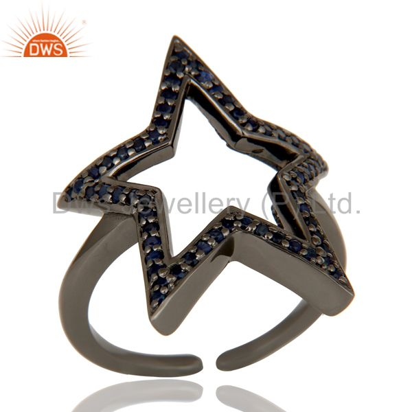 Black Oxidized 925 Sterling Silver Blue Sapphire Designer Midi Ring Jewellery
