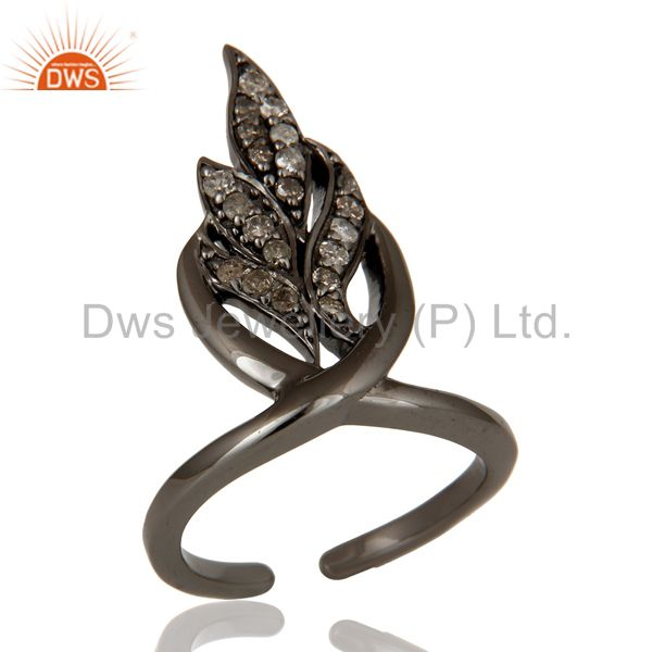 Black Oxidized Sterling Silver and Diamond Leaf Design Midi Ring