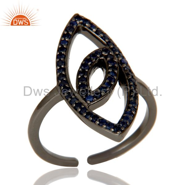 High Polish Black Oxidized Sterling Silver Blue Sapphire Statement Midi Ring
