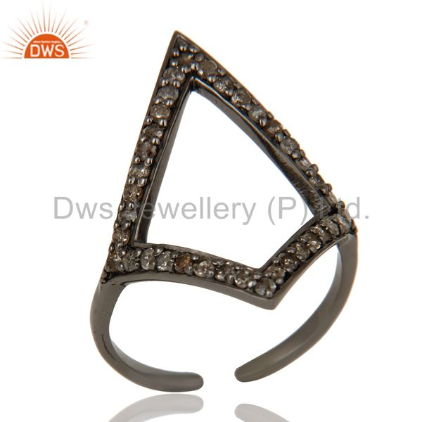 Diamond and Oxidized Sterling Silver Tringle Shape Midi Ring