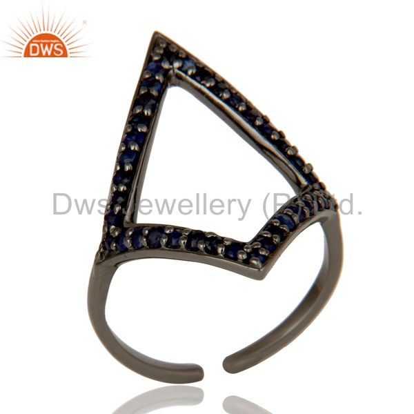 Blue Sapphire and Oxidized Sterling Silver Tringle Shape Midi Ring