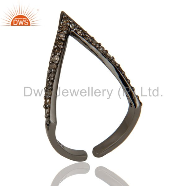Diamond Round Cut Black Oxidized Sterling Silver Tringle Shape Midi Ring
