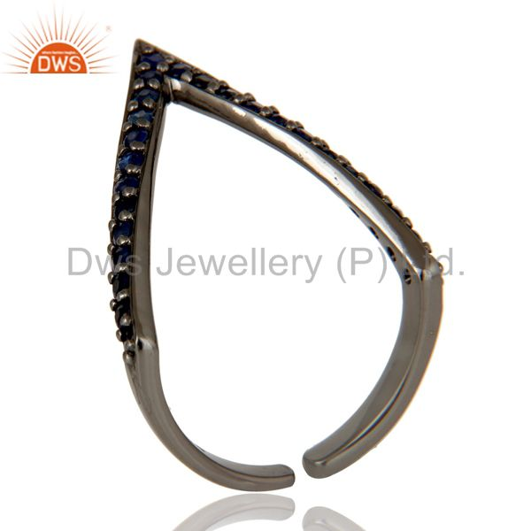 Black Oxidized 925 Sterling Silver Handmade Natural Iolite Midi Ring Jewelry