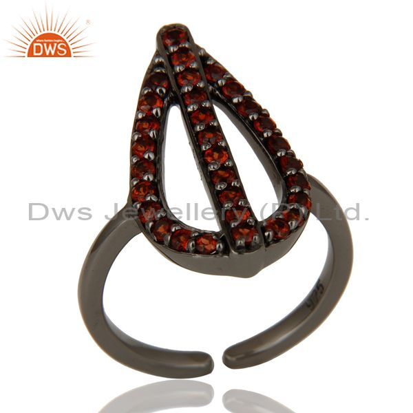 Garnet and Oxidized Sterling Silver Peace Sign Midi Ring
