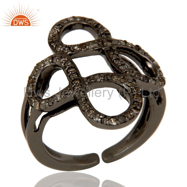Diamond Black Oxidized Sterling Silver Infinity Midi Ring