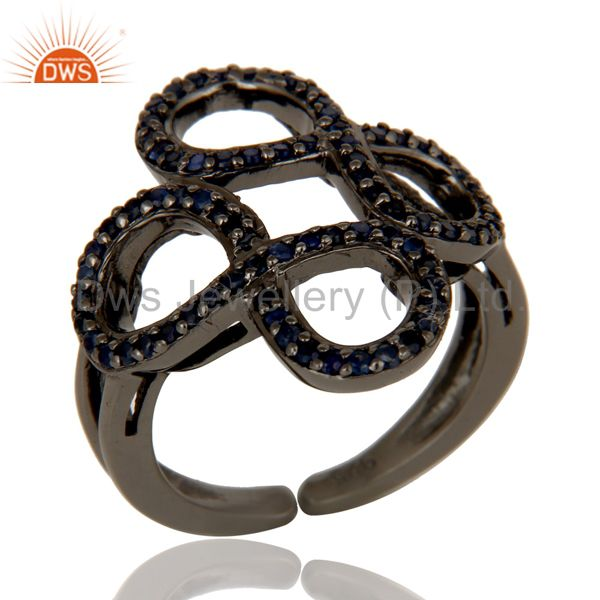 Blue Sapphire Black Oxidized Sterling Silver Infinity Midi Ring