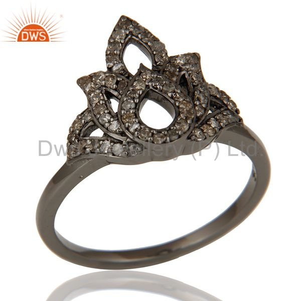Crown Design Diamond and Oxidized Sterling Silver Beautiful Ring