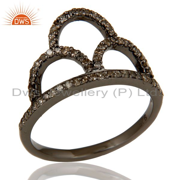 Crown Ring Diamond and Oxidized Sterling Silver Designer Ring