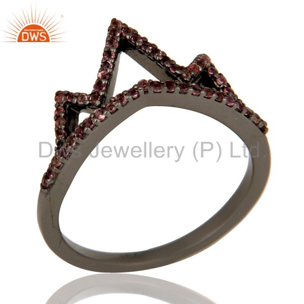 Crown Design Pink Tourmaline Ring Black Oxidized Sterling Silver Loving Ring