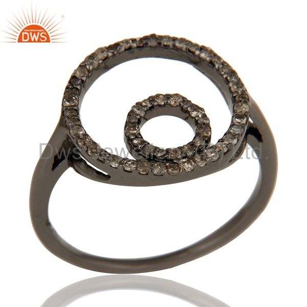 Round Design Pave Diamond Ring Black Oxidized Sterling Silver Loving Ring