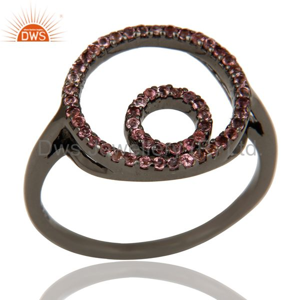 Designer Pink Tourmaline Ring Black Oxidized Sterling Silver Loving Ring