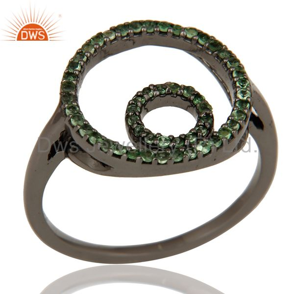 Designer Tsavourite Ring Black Oxidized Sterling Silver Loving Ring