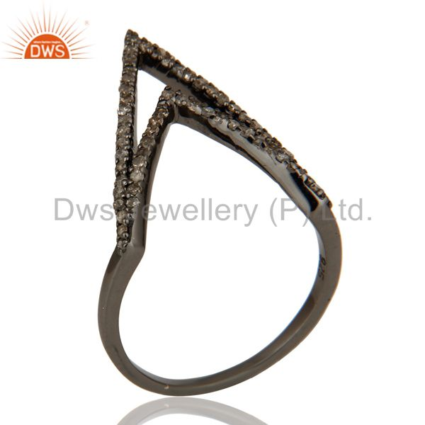 Diamond and Oxidized Sterling Silver Designer Lovely Ring