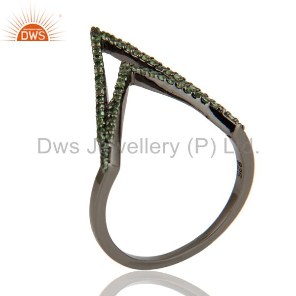Tsavourite and Oxidized Sterling Silver Designer Lovely Ring