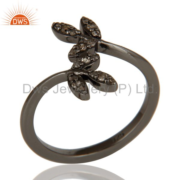 Diamond and Black Oxidized Leaf Designer Sterling Silver Ring