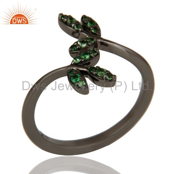 Tsavourite and Black Oxidized Leaf Designer Sterling Silver Ring