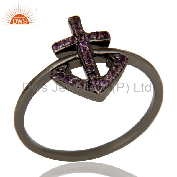 Amethyst and Oxidized Sterling Silver Cross Sign Statement Ring