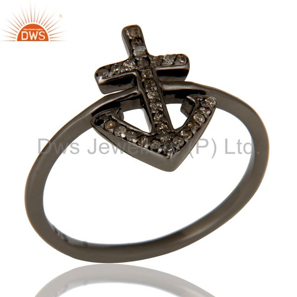 Pave Diamond Oxidized 925 Sterling Silver Cross Design Statement Ring Jewelry