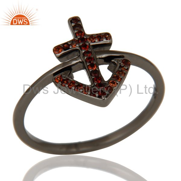 Garnet and Oxidized Sterling Silver Cross Sign Statement Ring