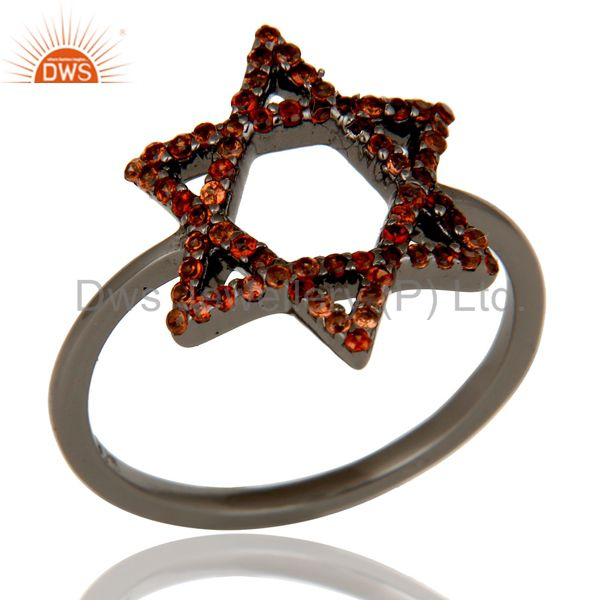 Garnet and Oxidized Sterling Silver Star Design Ring
