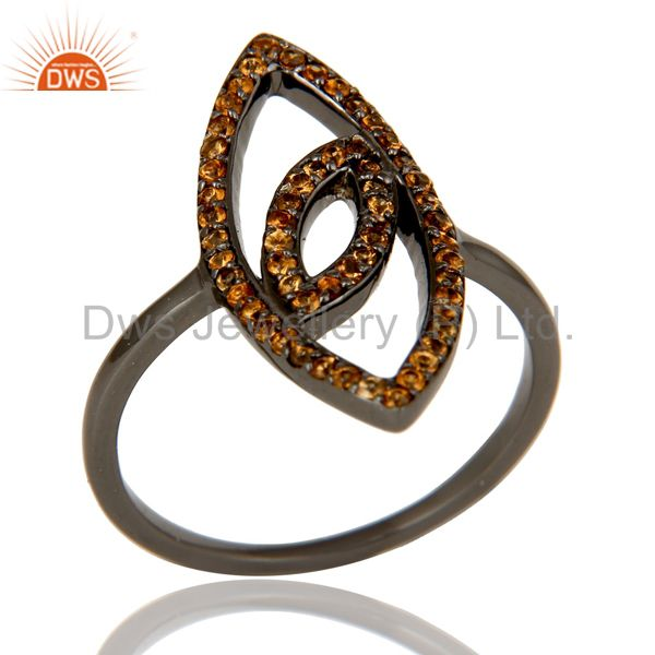 Oxidized Sterling Silver and Spassartite Studded Ring Designer Jewelry