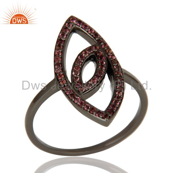 Oxidized Sterling Silver and Pink Tourmaline Studded Ring Designer Jewelry