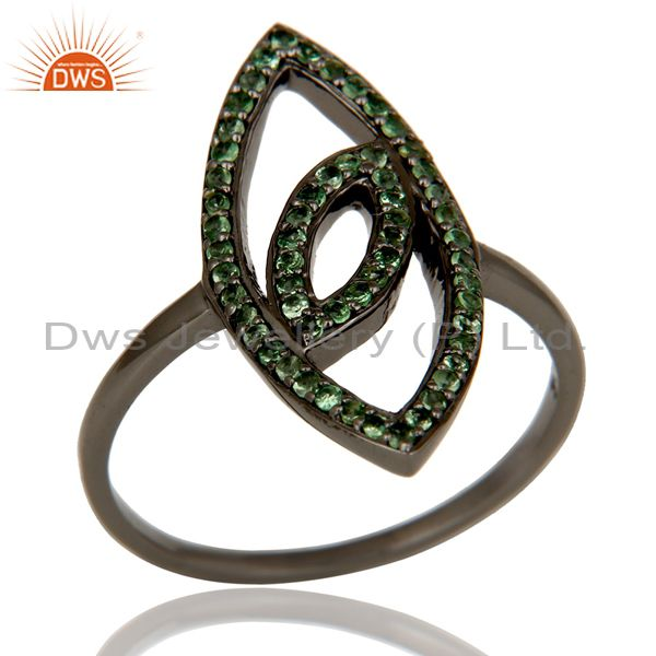 925 Sterling Silver Oxidized Handmade Eye Design Tsavorite Ring Jewelry