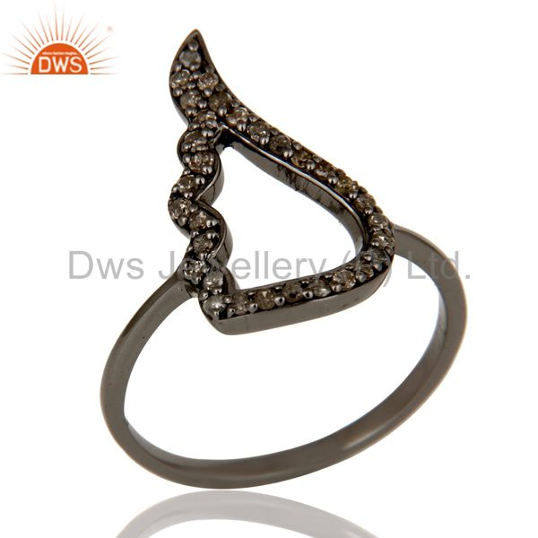 Wing Style Diamond and Oxidized Sterling Silver Jewelry Ring