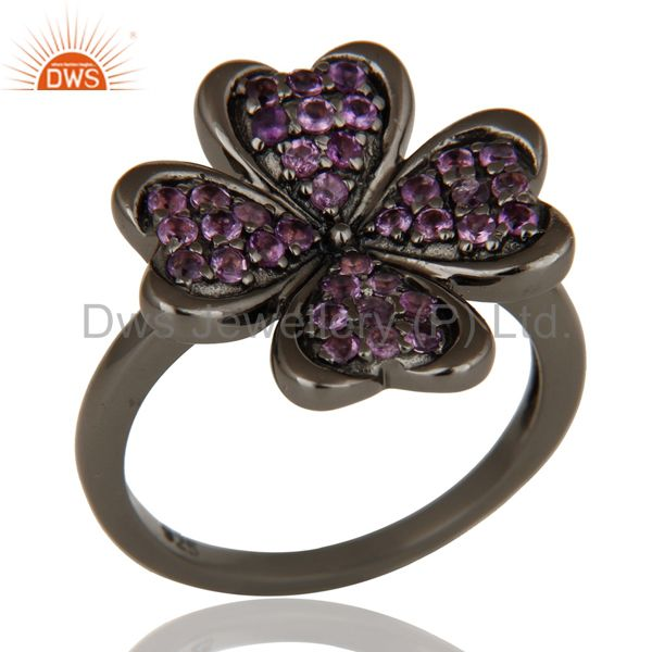 Flower Style Amethyst and Oxidized Sterling Silver Jewelry Ring