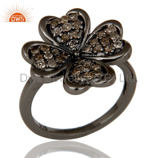 Diamond and Oxidized Sterling Silver Flower Design Ring