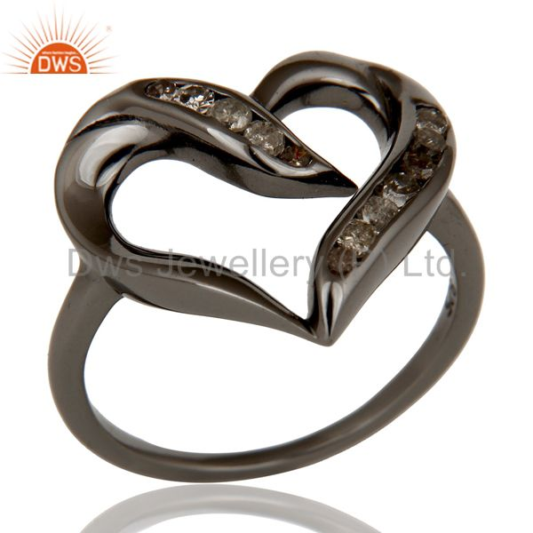 Designer Heart Ring with Diamond and Oxidized Sterling Silver