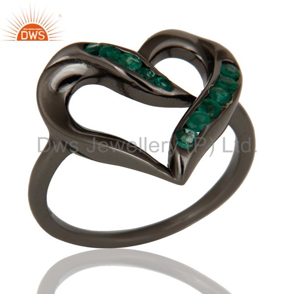 Designer Heart Ring with Emerald and Oxidized Sterling Silver