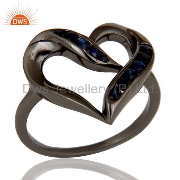 Designer Heart Ring with Blue Sapphire and Oxidized Sterling Silver