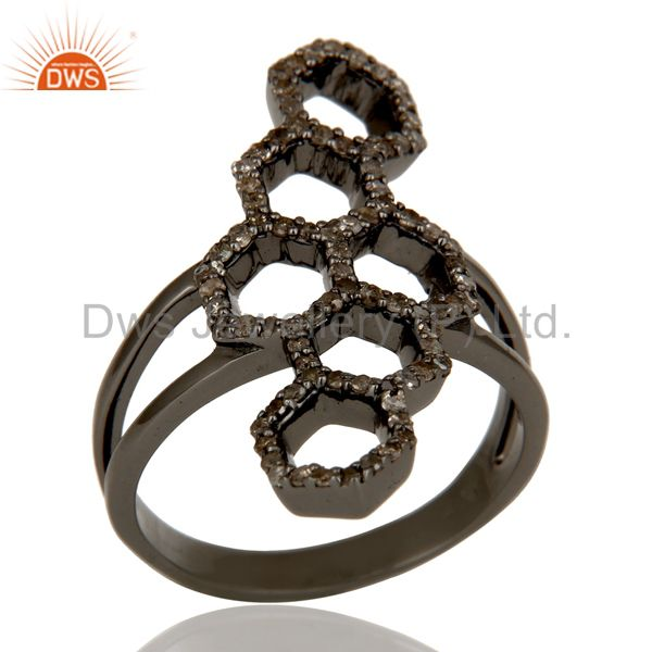 Oxidized Sterling Silver and Diamond Statement Ring Designer Jewelry