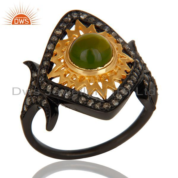 18K Gold Plated & Black Oxidized Sterling Silver Pave Diamond & Tourmaline Ring