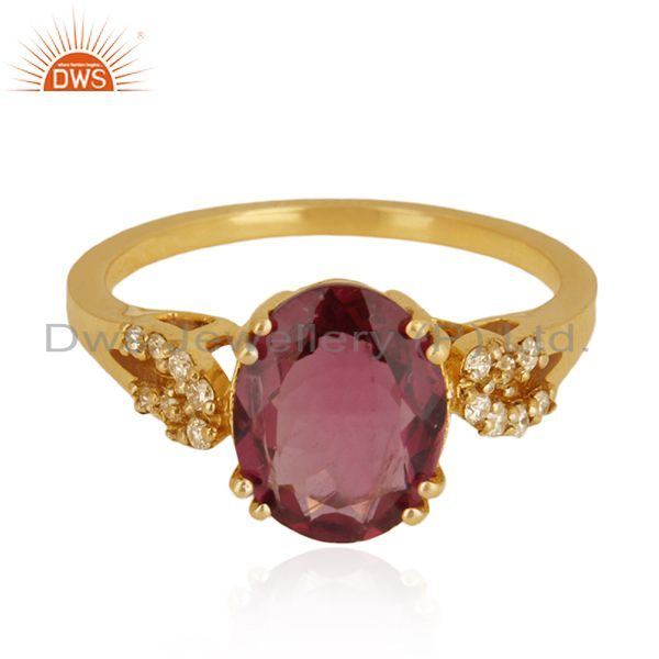 Solid 18k Yellow Gold Rubellite Tourmaline and Diamond Wedding Ring Manufacturer