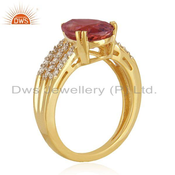 Solid 18k Yellow Gold Diamond and Tourmaline Gemstone Wedding Ring Manufacturer