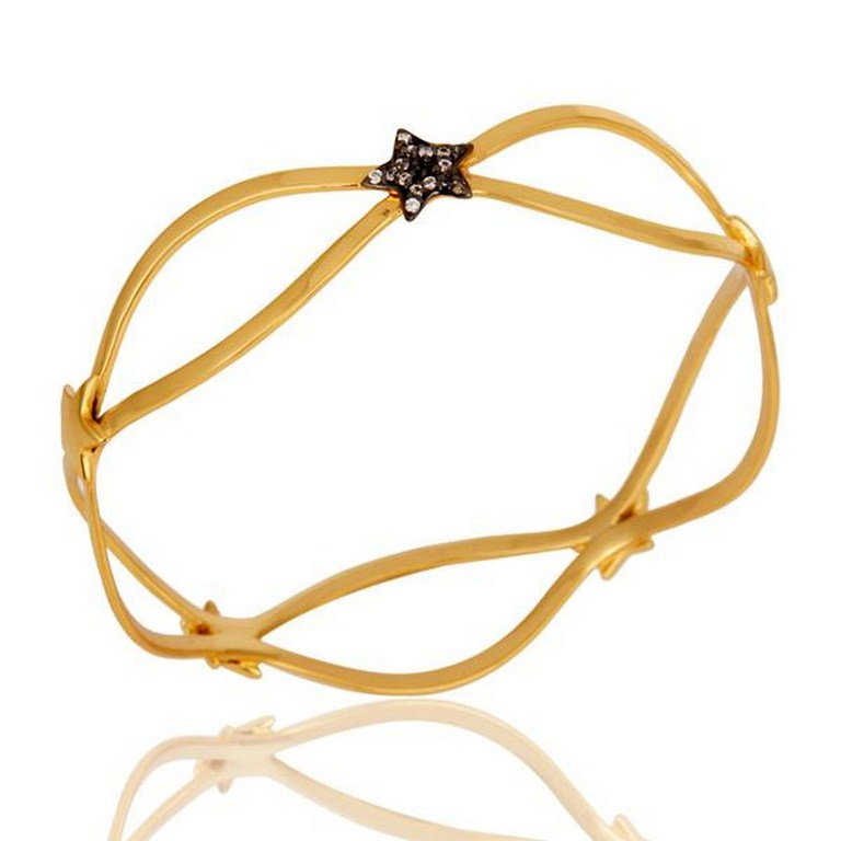 18k Gold Plated Traditional Star Design Brass Bracelet with White Zircon