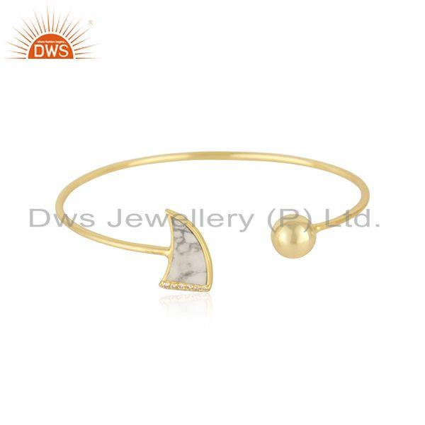 White Howlite & White Zircon Openable Brass Bracelet Made In 14K Gold Plated